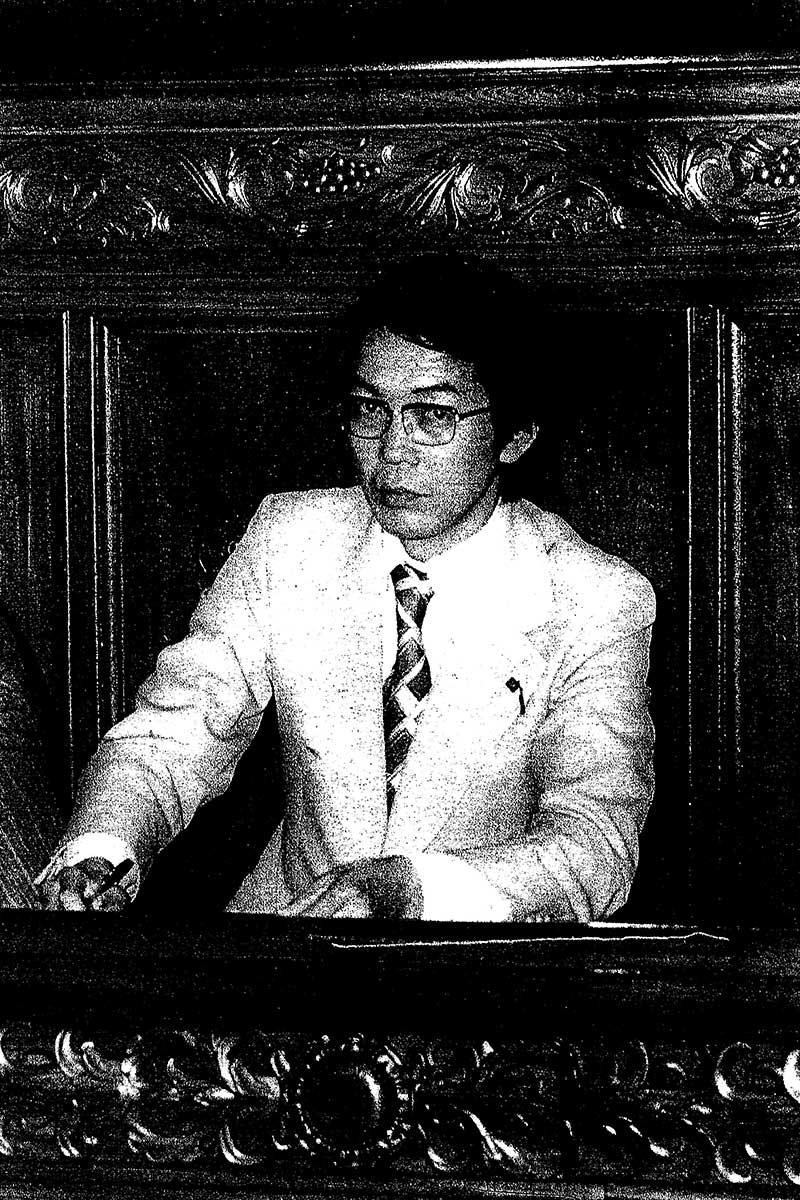 三木内閣時代、衆院本会議場記者席にて